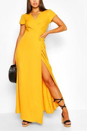 Boohoo Women Maxi Dresses - Plunge Front Tie Wrap Maxi Dress- Mustard
