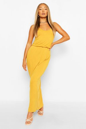 Boohoo Racer Back Maxi Dress- Mustard