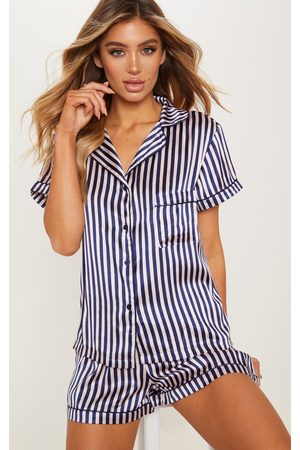 PRETTYLITTLETHING Nude & Navy Striped Button Up Short PJ Set