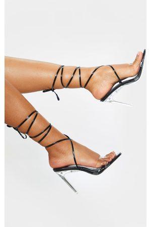 PRETTYLITTLETHING Clear Heel Ankle Tie Sandal