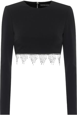 DAVID KOMA Exclusive to Mytheresa – Embellished cady crop top