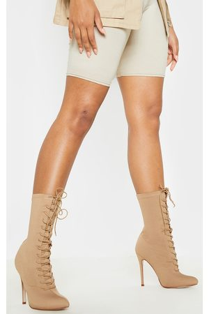 PRETTYLITTLETHING Mazy Nude Lace Up Sock Boots
