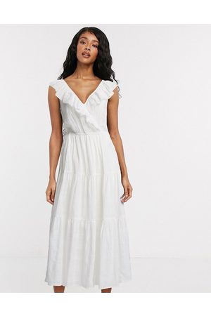Object textured midi dress with v neck and ruffle trims in white