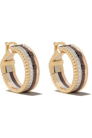 Boucheron 18kt yellow, white and rose gold Quatre Classic hoop diamond earrings
