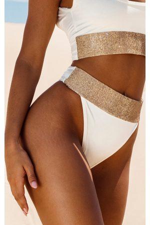 PRETTYLITTLETHING Cream Diamante High Leg Bikini Bottom