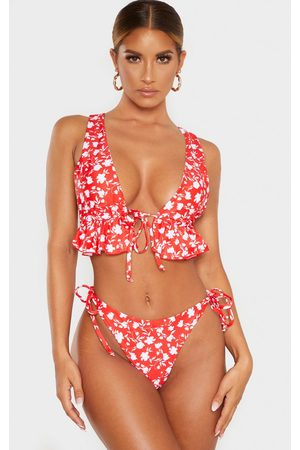 PRETTYLITTLETHING Floral Tie Front Frill Plunge Bikini Top