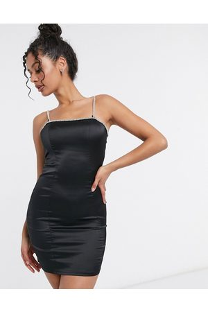 Femme Luxe exclusive diamante strap mini pencil dress in black