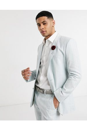 ASOS DESIGN wedding skinny suit jacket in stretch cotton linen in blue and white stripe