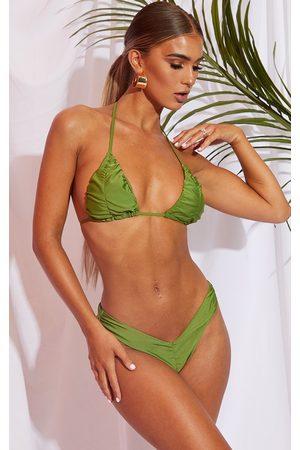 PRETTYLITTLETHING Olive Ruched Front & Back Bikini Bottom