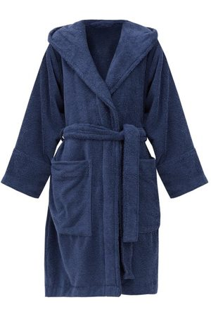 Tekla Hooded Cotton-terry Bathrobe - Womens - Navy