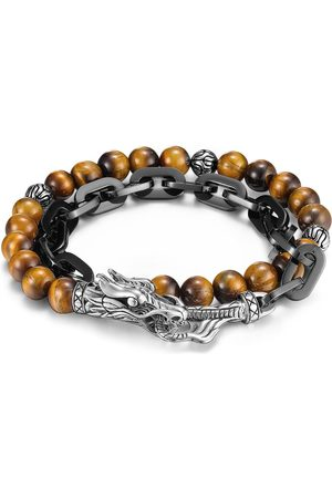 John Hardy Men Bracelets - Legends Naga' tiger eye bead silver double wrap bracelet