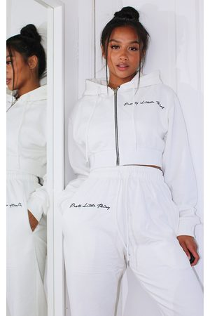 PRETTYLITTLETHING Hoodies - Petite Cropped Embroidered Zip Hoodie