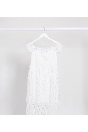 Chi Chi London Maternity bardot lace midi dress in white