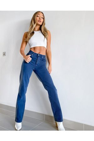 ASOS DESIGN High rise '90's' straight leg jeans in washed navy