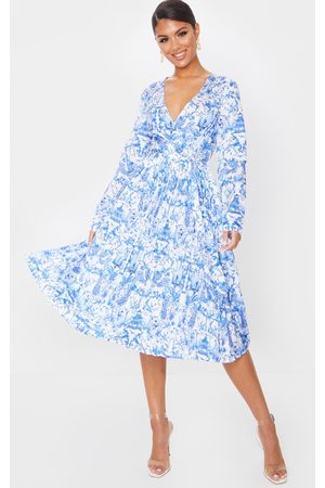 PRETTYLITTLETHING Porcelain Print Long Sleeve Pleated Midi Dress