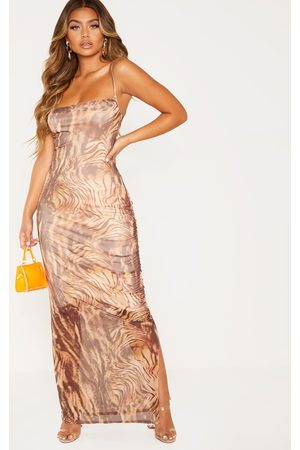 PRETTYLITTLETHING Women Maxi Dresses - Printed Mesh Ruched Maxi Dress