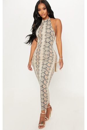 PRETTYLITTLETHING Shape Taupe Snake Print Halterneck Midaxi Dress