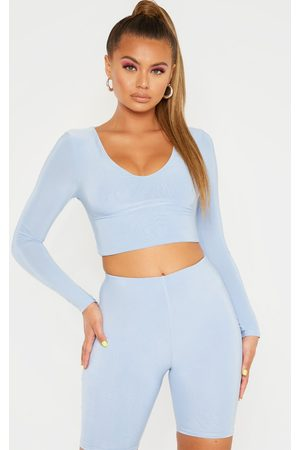 PRETTYLITTLETHING Baby Mix & Match Second Skin Long Sleeve V Neck Crop Top