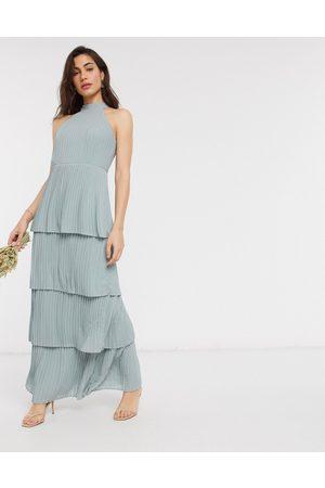 TFNC high neck tiered midaxi bridesmaid dress in sage-Green