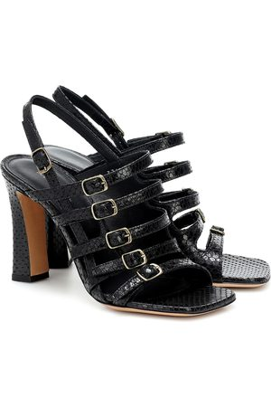DRIES VAN NOTEN Snake-effect leather sandals