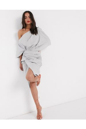 ASOS Drape asymmetric linen midi dress-Grey