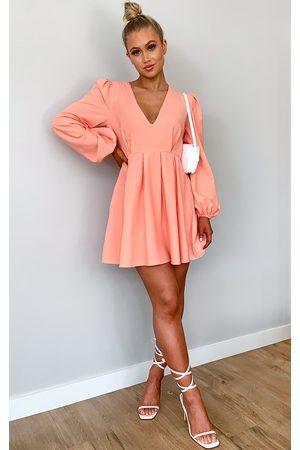 PRETTYLITTLETHING Peach Linen Mix Pleated Detail Skater Dress