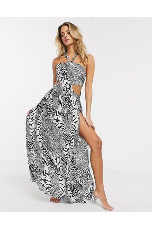 ASOS Halter cut out side maxi beach dress in mono animal print-Multi