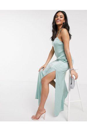 Skylar Rose Maxi slip dress with strappy back in satin-Green