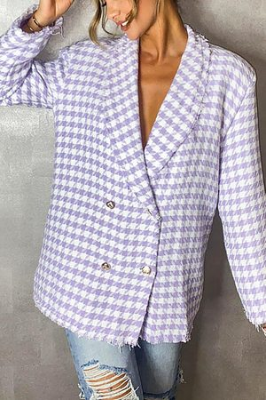 Boohoo Dogtooth Woven Double Breasted Boxy Blazer- Lilac