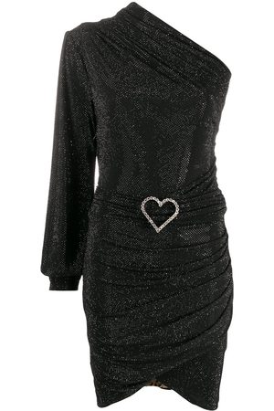 Philipp Plein One-shoulder crystal-heart dress