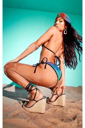 PRETTYLITTLETHING Women Bikinis - Multi Laser Cut Striped Tie Side Bikini Bottoms
