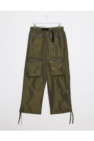 ASOS Wide leg pants in khaki nylon with webbed belt-Green