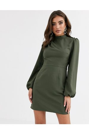 ASOS High neck mini dress with long sleeves in khaki-Green
