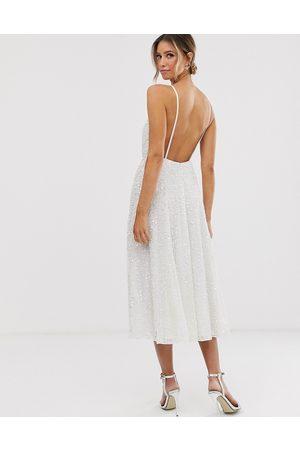ASOS Eva embellished cami midi wedding dress-White