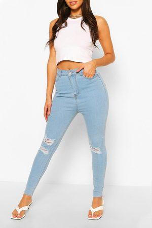 Boohoo High Rise Super Distressed Skinny Jean- Light
