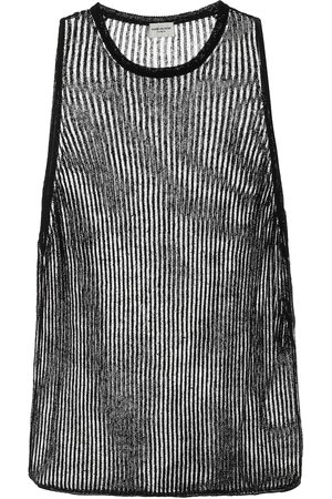 Saint Laurent Ribbed-knit linen and silk tank top