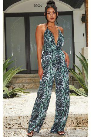 PRETTYLITTLETHING Women Jumpsuits - Khaki Leopard Print Halterneck Wide Leg Jumpsuit