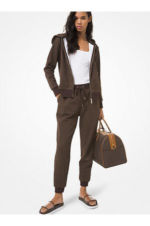 Michael Kors MK Logo Print Cotton Terry Zip-Up Hoodie - Chocolate - Michael Kors
