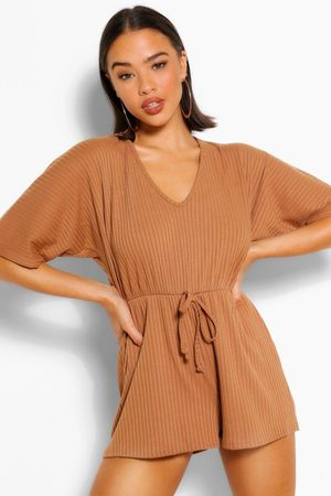 Boohoo Women Playsuits - Rib Oversized Slouch Playsuit- Camel