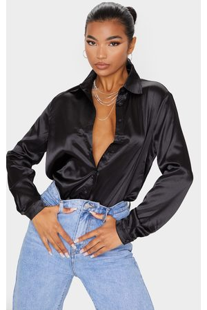 PRETTYLITTLETHING Satin Button Front Shirt