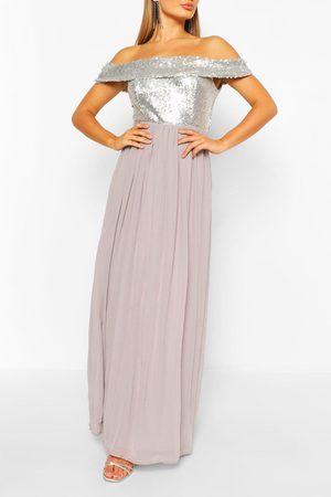 Boohoo Women Maxi Dresses - Bridesmaid Occasion Sequin Bardot Maxi Dress