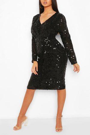 Boohoo Bridesmaid Occasion Sequin Plunge Midi Dress