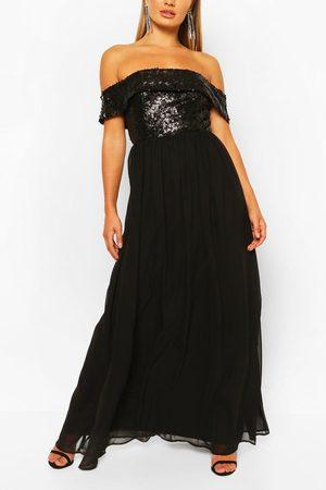 Boohoo Bridesmaid Occasion Sequin Bardot Maxi Dress