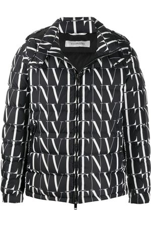 VALENTINO VLTN print hooded down jacket