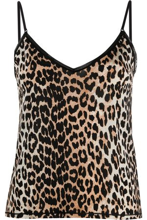 Ganni Leopard-print spaghetti-strap top