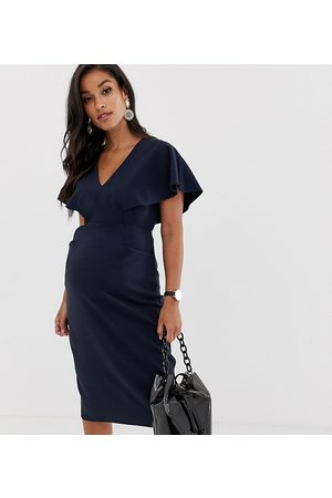 ASOS ASOS DESIGN Maternity angel sleeve midi pencil dress in navy