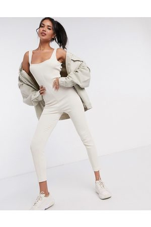 ASOS Mix & match lounge rib unitard in stone