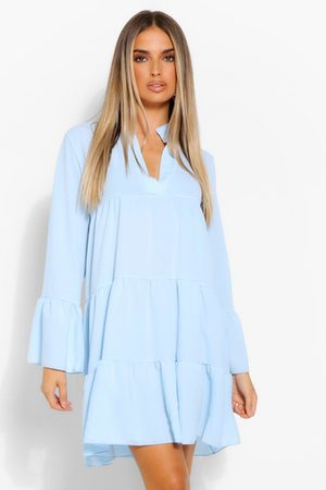 Boohoo Woven Tiered Smock Dress- Pale