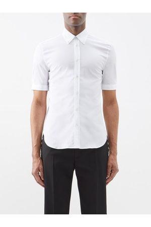 Alexander McQueen Men Short sleeves - Short-sleeved Cotton-blend Poplin Shirt - Mens