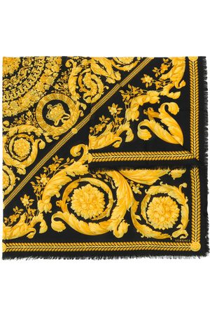 VERSACE Fine knit baroque print scarf